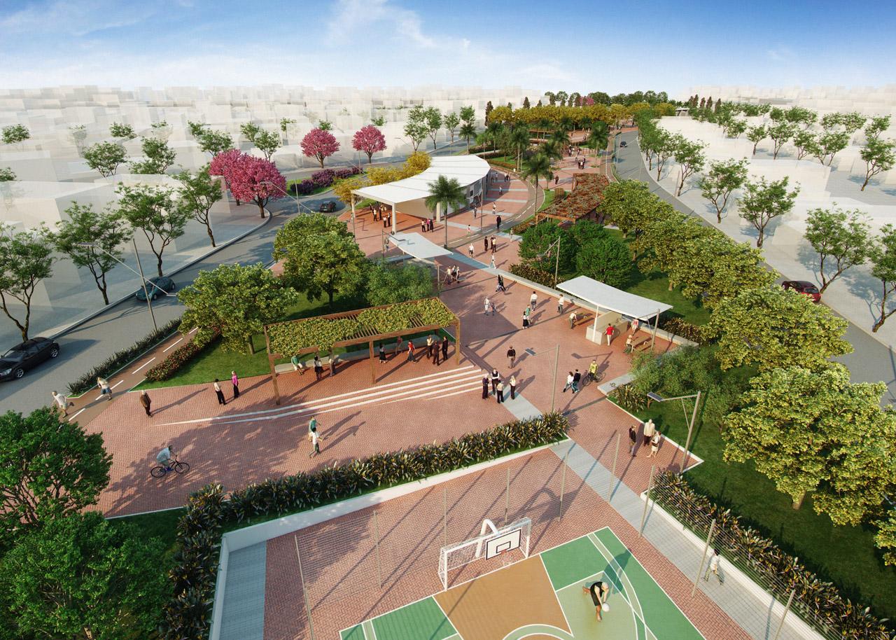 1° Lugar - Concurso de projetos: Praça Colinas de Anhanguera / HUS , © Esphera Virtual