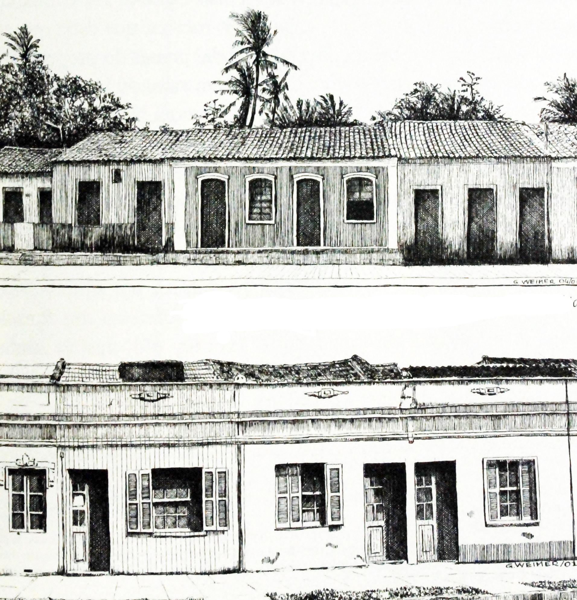 Figura 7. casario de 'Porta e Janela' em Porto Seguro, Bahia (acima) e em Porto Alegre, Rio Grande do Sul (abaixo)