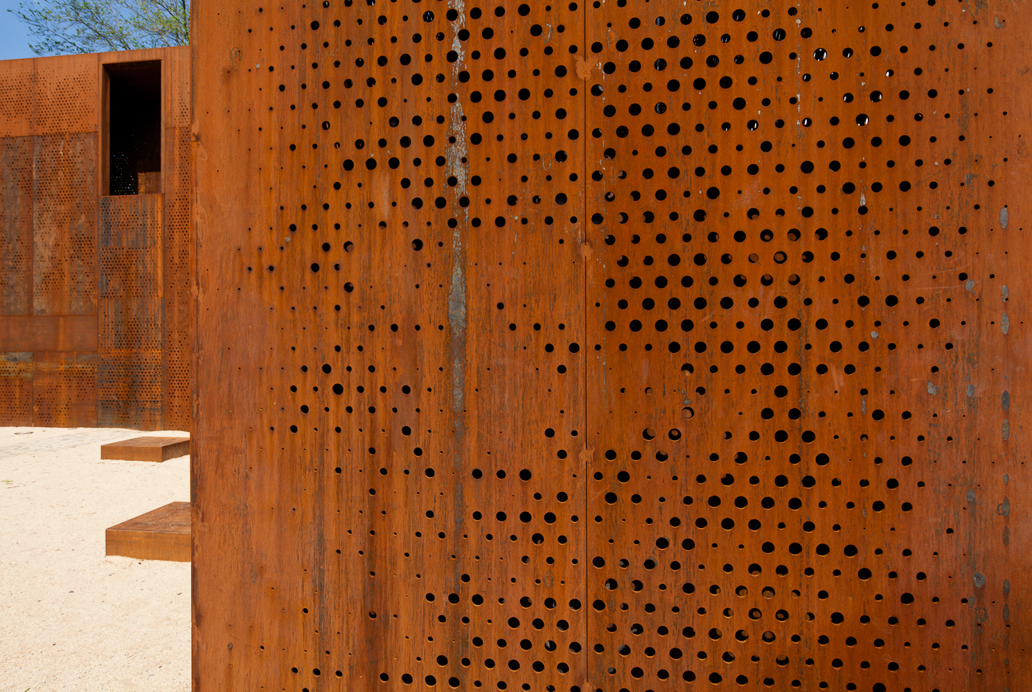 the gallery for perforated corten steel texture. Black Bedroom Furniture Sets. Home Design Ideas