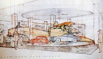 Desenho de Frank Lloyd Wright para o Showroom Hoffman Auto (cortesia de Frank Lloyd Wright Foundation) via Hyperallergic.com